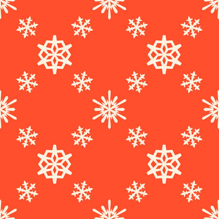Christmas snowflakes seamless pattern tiled red repeating