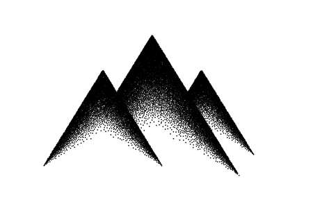Abstract background with mountains sign or emblem in dotwork or tattoo retro style 矢量图像