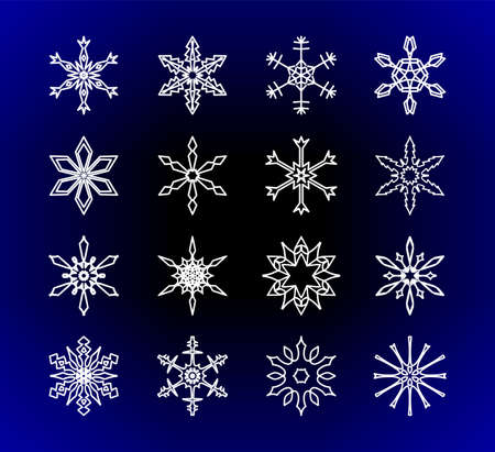 Set of artistic frozen snowflake silhouettes for Xmas celebration. Sign or emblem of the snow for Christmas holidays greeting cards and winter sale banners.