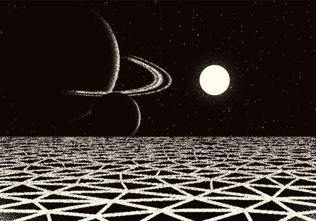 Retro dotwork landscape with 80s styled cracked land, planet with rings and sun on the background from old sci-fi book or poster. 矢量图像