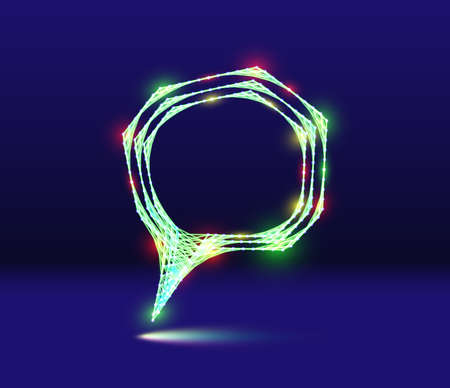 Abstract speech bubble neon icon with shiny 80s synthwave styled lines on blue background