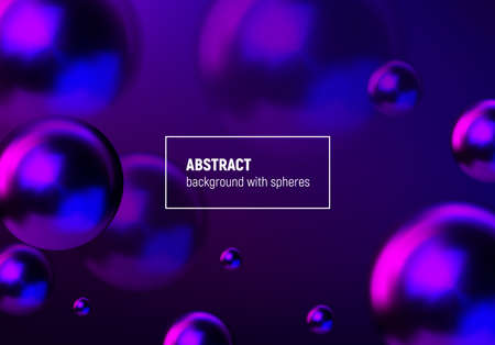 Abstract background with blue and purple balls flying in perspective for science and business wallpaper