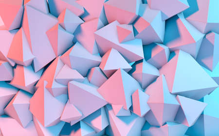 Abstract background with 3D shapes flying in pink and blue light as a messy array or chaotic structure for any pastel colored backdrop 免版税图像