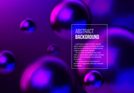 Abstract background with neon shiny blue and purple balls flying in perspective for science and business backdrop or wallpaper.