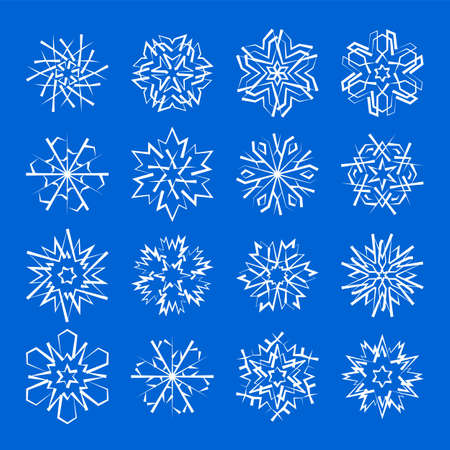Snowflake icons set with geometric shapes for Christmas ornaments for cold weather winter holiday cards