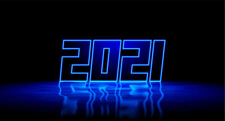 2021 New Year blue neon sign with shiny 3D digits and realistic reflection on wet floor. 2021 New Years Eve party or event invitation card emblem or cover.