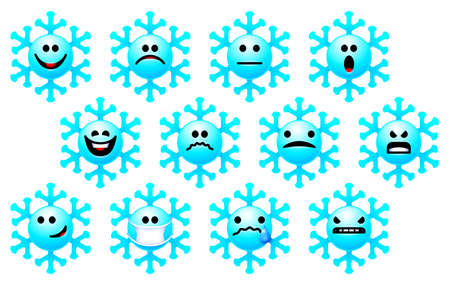 Set of snowflake emoji for winter holidays. Christmas themed collection of stickers or icons with snowflake smile faces. Emotion of snow stars in Xmas smiley bundle