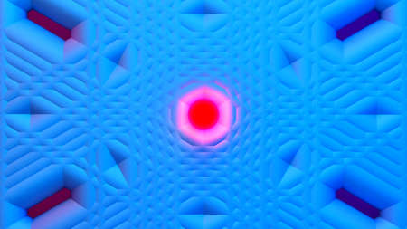 Scientific or technology abstractions with grid surface and surreal symmetric structure around the red light orb. Abstract background with blue fluorescent and vibrant tech structure. 3D illustration 免版税图像