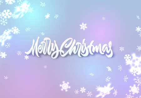 Christmas snowflakes background with falling snow and lettering or calligraphic greeting text 矢量图像