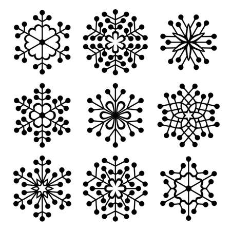 Set of beautiful filigree drawn snowflake silhouettes for Xmas celebration. Sign or emblem of the snow for Christmas holidays. Snowflakes with dots.