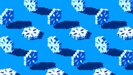 Winter background with 3D snowflakes pattern on blue backdrop. Christmas decoration for holiday card