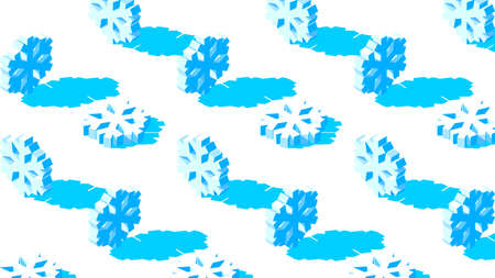 Winter background with 3D snowflakes pattern on white backdrop. Christmas decoration for holiday card.