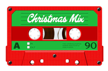 Christmas mix cassette for retro-themed holiday party invitation