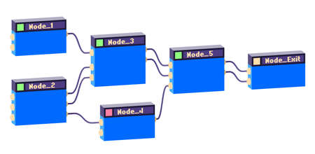 Linked nodes construction with logic and mathematical units connected for calculation. Abstract IT illustration for developing and creating process.