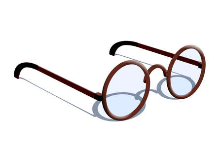 Stylish fashion round glasses with tinted glass isolated with shadow. Black retro glasses.