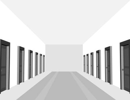 Hotel, clinic or hostel hall with black and white color. Corridor with doors in perspective view. Ilustración de vector
