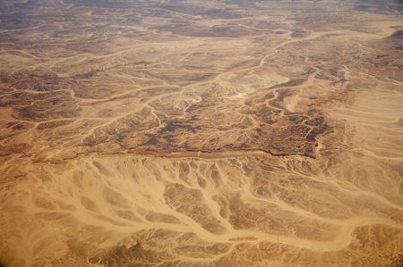 river bed: Sand desert aerial view Stock Photo