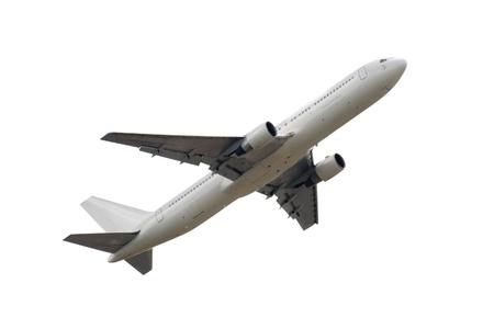 foto van het vliegtuig geà ¯ soleerd op witte achtergrond Stockfoto