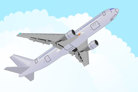 detailed vector draft of passenger airplane in the sky Vector