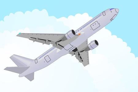 proyecto vectorial detallado de avi�n de pasajeros en el cielo