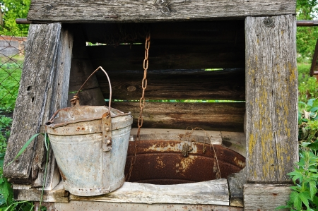 draw well: old wooden well with brocken bucket