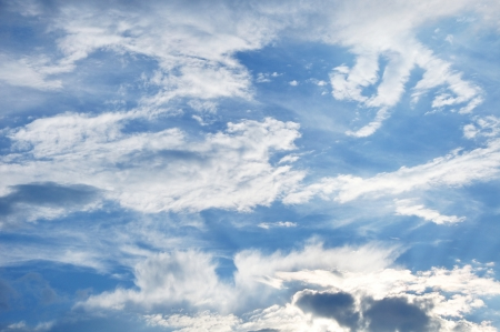 clr: blue sky with fluffy and spindrift cloudss as background
