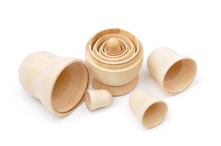 matreshka: Set of five disassembled wooden matryoshkas isolated Stock Photo