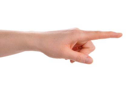 Index finger pointing isolated over white with clipping path included 스톡 콘텐츠