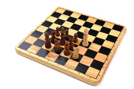 opponent: checkmate made by one chess horse with total advantage of opponent Stock Photo