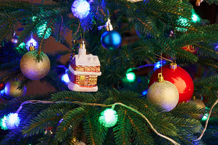 artificial lights: Christmas tree with Christmas decorations and garland lights