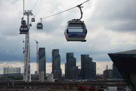 LONDON, UK - JUN 11 2019: Emirates cable car. This service is London's first urban cable car which crosses the Thames from Excel centre to the O2