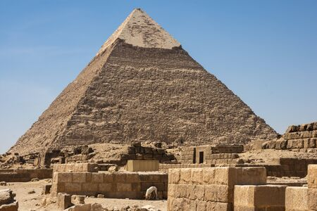 Pyramid of Khafre (also read as Khafra, Khefren) or of Chephren is the second-tallest and second-largest of the Ancient Egyptian Pyramids of Giza and the tomb of the Fourth-Dynasty pharaoh Khafre (Chefren)