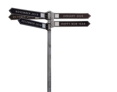 Road pointer of five directions isolated. New year, 2020, 2019 and monthes are on the arrows. Reklamní fotografie
