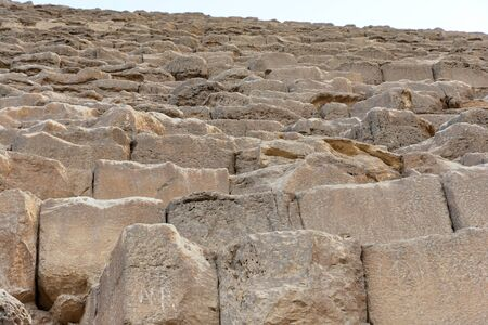 Big blocks of the Pyramid of Khufu (Cheops) Stock Photo
