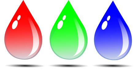 Water droplets with red, green and blue give coolness and calmness