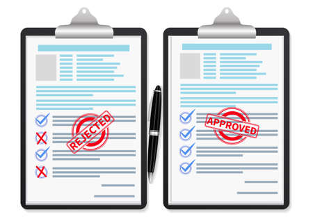 Documents with approved stamp and rejected stamp. Vector illustration Vettoriali