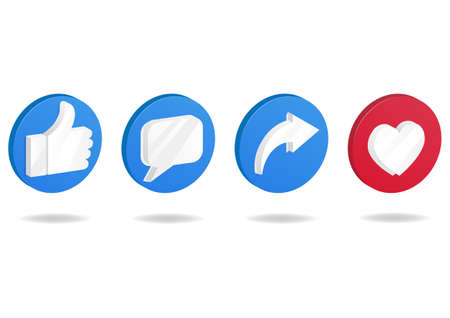 Button icon on social media. Thumbs up and heart icon with repost and comment icons.