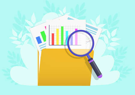 Concept of Find file. Folder and magnifying glass with document file.