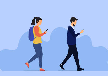 Walking people checking mobile phone. Vector flat design illustration Vettoriali