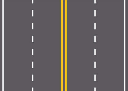 Asphalt road texture top view with stripes. Vector illustration