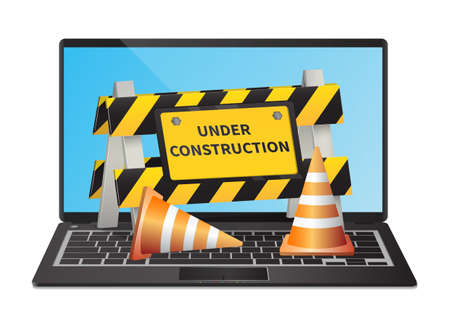 Under construction website page on laptop illustration