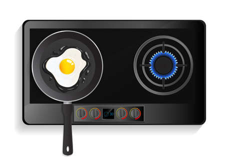 Top view of realistic kitchen stove with lit hob and fried egg on pan. Vector illustration