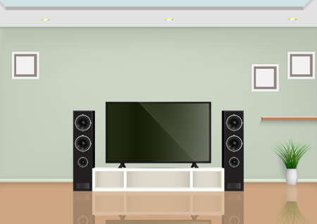 Living room with smart TV on the table and speaker audio. Vector illustration.