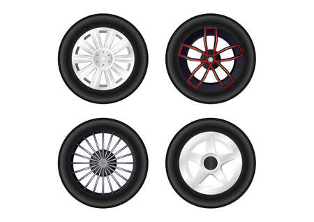 Complete set of car wheels with alloy rims