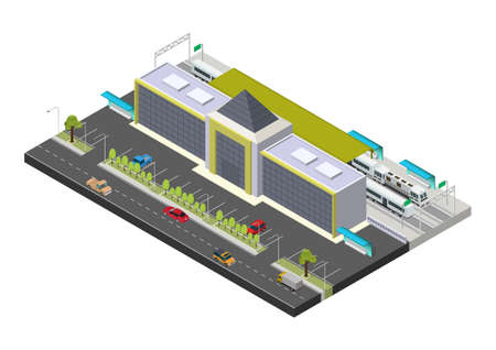 Vector isometric public train station building with trains, platform, and related infrastructure