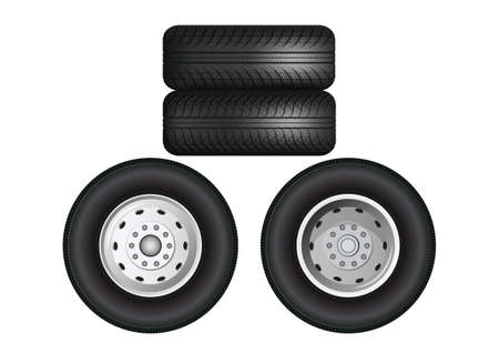 Stacked truck wheels. Truck Black rubber tires on a white background. Illustration