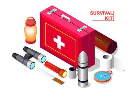 Vector isometric of Survival emergency kit set, isolation on white