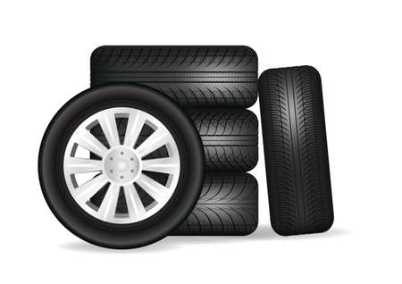 Stacked car wheels. Black rubber tires on a white background. Vector illustration Vettoriali
