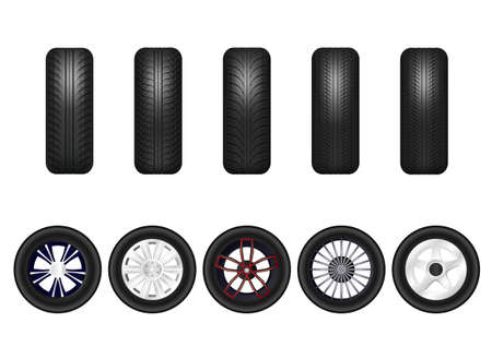 Complete set of car wheels with alloy rims. Isolated on white background