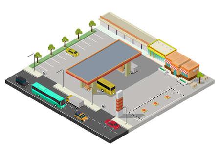 Isometric gas station, petrol station fuel tank, fuel pump, car, shop, oil station, gasoline. Vector illustration.